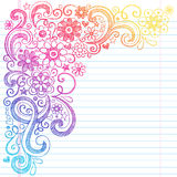 Flowers Sketchy School Notebook Doodles Vector Illustration. Flower Power Back to School Sketchy Notebook Doodles with Flower Blossoms, Vines, and Swirls- Hand Stock Images
