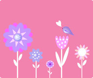 Flowers and small bird royalty free illustration