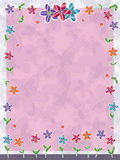 Flowers Small Butterflies Frame_eps. Illustration of flowers frame with small butterflies flying on silhouette pink and light purple background Royalty Free Stock Photo