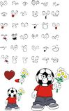 Flowers Soccer kid cartoon expressions set Royalty Free Stock Photos