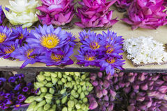 Flowers sold to be used as offerings in front of the Temple of t Royalty Free Stock Photo