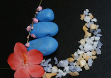Flowers with spa salt and blue stones Royalty Free Stock Images