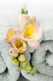 Flowers on spa towels. Closeup of Flowers on spa towels Royalty Free Stock Photo