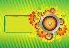 Flowers_speakers yellow. The composition of sunflowers and speakers Royalty Free Stock Photo