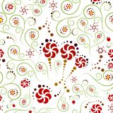 Flowers and spirals in seamless pattern Royalty Free Stock Images
