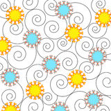 Flowers and spirals - Vector. Artistic flowers and spirals on white background Stock Photo