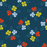 Flowers with sprigs of leaves vector seamless pattern Royalty Free Stock Photos