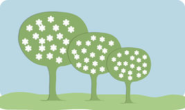 With flowers spring background tree. Material design. Stock Images