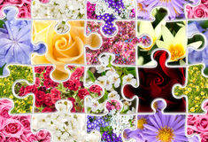 Flowers Spring Collection Seamless Puzzle. Flowers spring collage set collection in shape of puzzle. SEAMLESS spring background pattern Stock Image