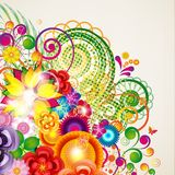 Flowers spring design background, floral curl bright pattern Stock Images