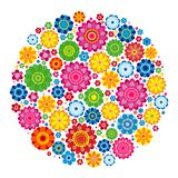 Flowers spring design on a white  background, floral vector. Illustration Royalty Free Stock Photo