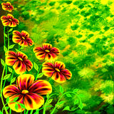 Flowers on the spring meadow. Abstract flowers on the spring meadow stock illustration