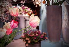 Flowers spring shop. Non-nature flowers in spring shop Royalty Free Stock Photo
