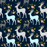 Flowers and stag, deer seamless pattern. Stock Photos