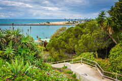 Flowers and staircase to the beach in Corona del Mar  Stock Image