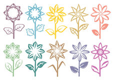 Flowers on Stalk Vector Art Element Design Royalty Free Stock Photography