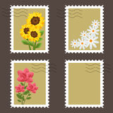 Flowers stamps. Set of four flowers stamps isolated on brown background.EPS file available Stock Image
