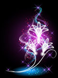 Flowers and stars. Glowing background with flowers and stars Stock Images