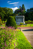 Flowers and statue of George Washington at the Commons in Boston Stock Images