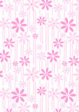 Flowers and stems pink abstract repeat pattern Stock Photo
