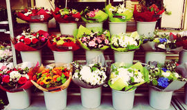 Flowers Street Vitrine France. Flowers Display for Mothers Day Celebration Royalty Free Stock Image