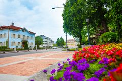 Flowers and streets of Liechtenstein Royalty Free Stock Photo