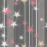 Flowers on striped background seamless pattern Royalty Free Stock Photo