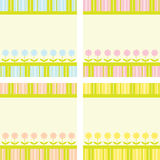 Flowers and Stripes Background Set Royalty Free Stock Photos