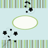 Flowers & Stripes Card Background Stock Photos