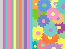 Flowers and stripes pattern Royalty Free Stock Image