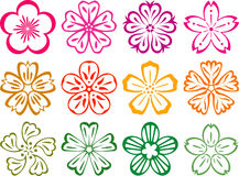 Flowers in style of Japnese and Chinese. Vector elements in the style of traditional Japanese / Chinese Flowers Stock Images