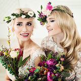 Flowers Style Portrait of Beautiful Women. Perfect Bride Stock Images