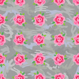 Flowers (stylized roses) seamless camo background Stock Photography