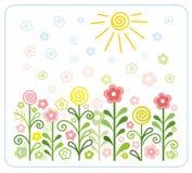 Flowers, sun, children, flat, coloured illustrations. Colored, flat illustration with flowers on the meadow, under the sun. Natural motive. Children's style Stock Photography