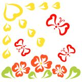 Flowers, sun and flying butterflies, ramantika and ecology.  royalty free illustration