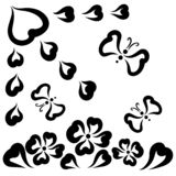 Flowers, sun from hearts and flying butterflies.  vector illustration