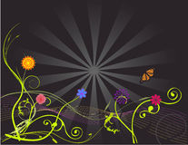 Flowers on a sunburst vector illustration