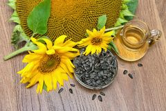 Flowers sunflower, seeds and sunflower oil Royalty Free Stock Photography