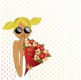 Flowers Surprise. Stylized Tween with bouquet of roses - suprise gesture Royalty Free Stock Photography
