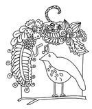 Flowers Surrounding Bird, and the Bird sings a song. Doodle art and zentangle style Flowers Surrounding Bird, and the Bird sings a song Stock Photography