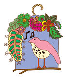 Flowers Surrounding Bird, and the Bird sings a song. Doodle art and zentangle style Flowers Surrounding Bird, and the Bird sings a song Royalty Free Stock Photo