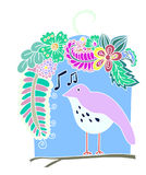 Flowers Surrounding Bird, and the Bird sings a song. Doodle art and zentangle style Flowers Surrounding Bird, and the Bird sings a song Royalty Free Stock Image