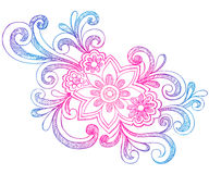 Flowers and Swirls Sketchy Notebook Doodles Royalty Free Stock Photo