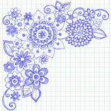 Flowers and Swirls Sketchy Notebook Doodles. Hand-Drawn Flowers and Swirls Sketchy Notebook Doodles Vector Illustration on Graph (Grid) Paper Background Royalty Free Stock Images