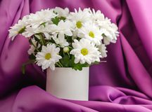 Flowers on the table close-up. White chrysanthemums in a vase stock image