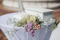 Flowers on the table outdoor. Wedding decoration. Royalty Free Stock Photo