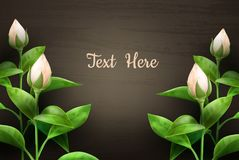 Flowers on the table. Vector illustration of beautiful flowers on wooden table with space for text. , top view Stock Image