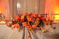 Flowers on table at wedding stock photography