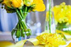 Flowers on the table. On the wedding day Stock Photos