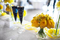 Flowers on the table. On the wedding day Royalty Free Stock Photography